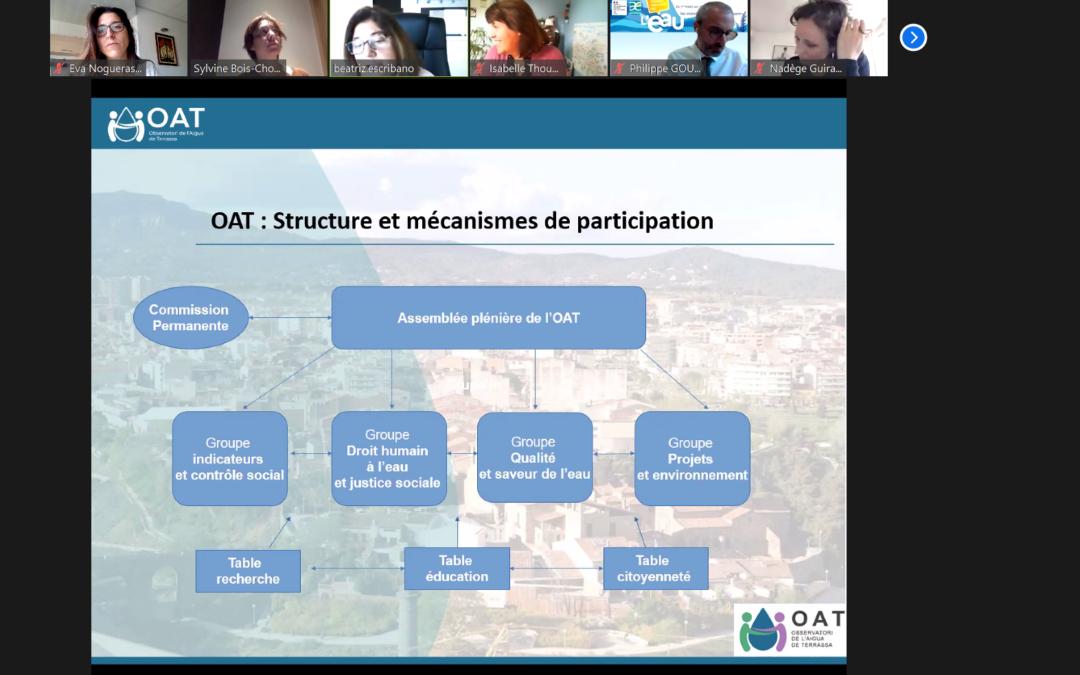 El OAT como ponente destacado en Webinar en París sobre Estrategias para gestionar y proteger un recurso común como el agua.